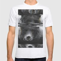 Bear Glitch Mens Fitted Tee Ash Grey SMALL