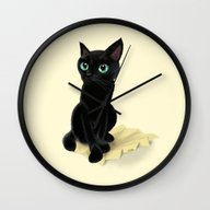 Black Little Kitty Wall Clock