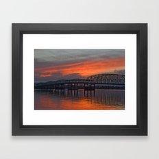 sunset bridge Framed Art Print