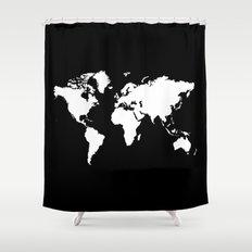 Black white world map Shower Curtain