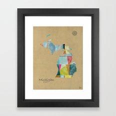 Michigan  State Map  Framed Art Print