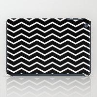White Chevron On Black iPad Case