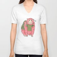 Peachtree The Chimp in Red Unisex V-Neck