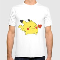 Pikachu In Love  Mens Fitted Tee White SMALL