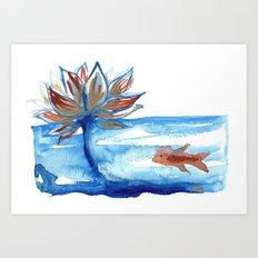 The Lotus and the Goldfish Art Print