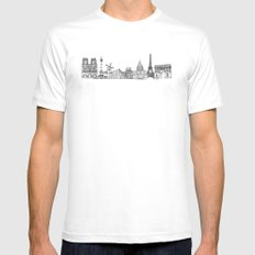 Paris Landmarks by the Downtown Doodler SMALL White Mens Fitted Tee