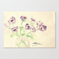 A Jar of Violets  Canvas Print