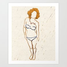Don't Look Now - Shy Ginger Girl Art Print