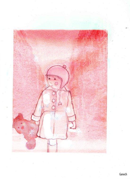 Shelsea and his teddy bear Valentin  Art Print