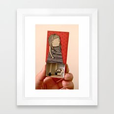 Matchbox Lady And Pug Framed Art Print