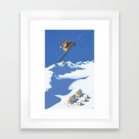 Retro Sky Skier Framed Art Print