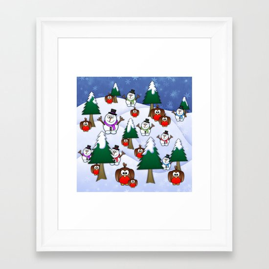 Rocking Robin In A Winter Wonderland. Framed Art Print