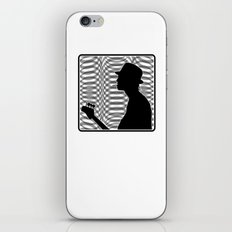 Bass Guitar Player Silhouette B/W iPhone & iPod Skin