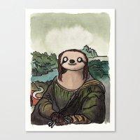 The Mona Sloth  Canvas Print