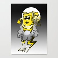 StormBot - Yellow Robot Canvas Print