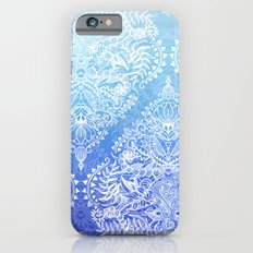 Out of the Blue - White Lace Doodle in Ombre Aqua and Cobalt iPhone 6s Slim Case