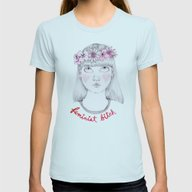 Floral Feminist Bitch Womens Fitted Tee Light Blue SMALL
