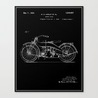 Motorcycle Patent - Blac… Canvas Print