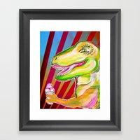 Dinos Need Icecream Framed Art Print