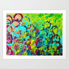 A LITTLE OF THIS - Bright Colorful Abstract Ocean Painting Circle Pattern Magenta Lime Fun Gift Art Print