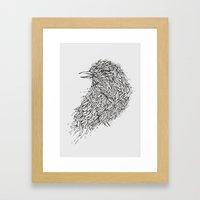 Grey Bird Illustration Framed Art Print