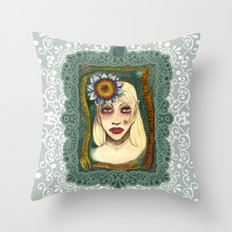 snakes and sunflower girl Throw Pillow
