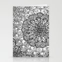 Shades of Grey - mono floral doodle Stationery Cards