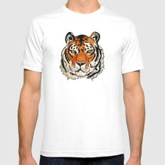 Tiger White SMALL Mens Fitted Tee