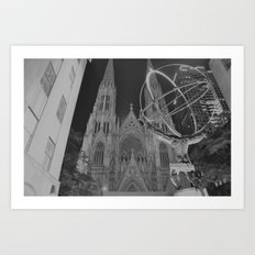 Atlas Statue Black and White Art Print