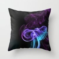 Colored Smoke Throw Pillow