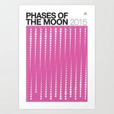 PURPLE 2015 Phases of the Moon Calendar Art Print