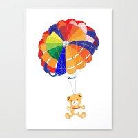 Parachuting Bear 2 Canvas Print