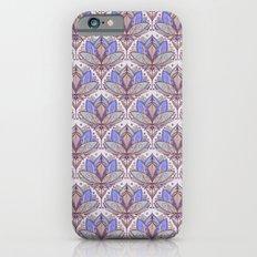Art Deco Lotus Rising 2 - sage grey & purple pattern iPhone 6s Slim Case