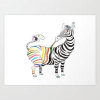 zebra Art Prints featuring Zebra by gunberk