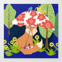 Fox In Galoshes At Night Canvas Print