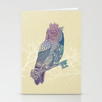 Owl King Color Stationery Cards