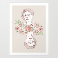 Woman With Flowers And B… Art Print