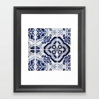blue tile pattern VII - Azulejos, Portuguese tiles Framed Art Print