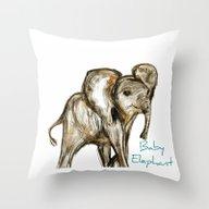 Baby Elephant Blue Throw Pillow