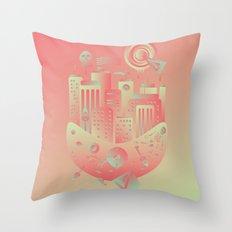 Geometromorphic City Throw Pillow