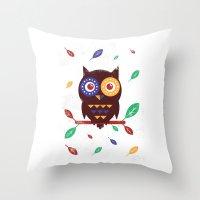 Autumn Owl Throw Pillow