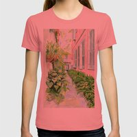 New Orleans Courtyard Womens Fitted Tee Pomegranate SMALL