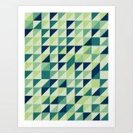 Blue And Green Geometric… Art Print