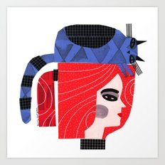 BLUE CAT ON HEAD Art Print