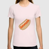 Hot Dog Womens Fitted Tee Light Pink SMALL