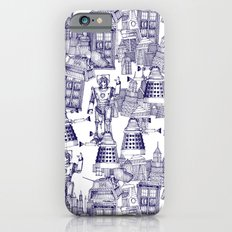 Doctor Who Toile de Jouy | 'Walking Doodle' | Blue Slim Case iPhone 6s