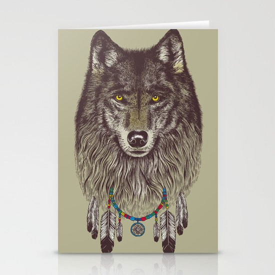 Wind Catcher Wolf Stationery Card