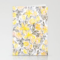 Sunny Yellow Crayon Striped Summer Floral Stationery Cards