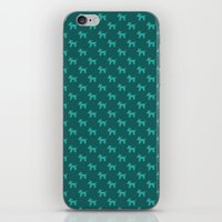 Dogs-Teal iPhone & iPod Skin