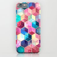 iPhone Cases featuring Topaz & Ruby Crystal Honeycomb Cubes by micklyn